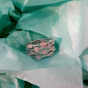 《NEW》 silver multi shape rope ring